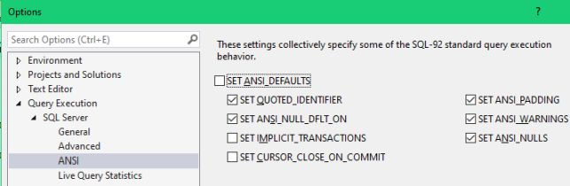 ANSI Query Execution Options